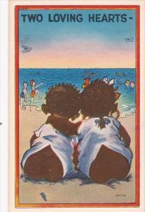 Black Americana Children On Beach Two Loving Hearts