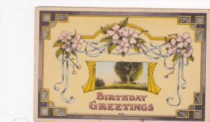 Birthday Greetings, Pink flowers, spring scene, 10-20s