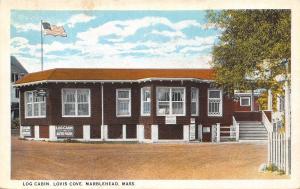 Marblehead Massachusetts~Lovis Cove~Log Cabin Inn & Auto Park~1920s Postcard