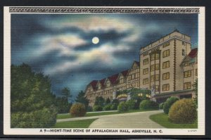North Carolina colour Night View Appalachian Hall, Asheville, N.C unused