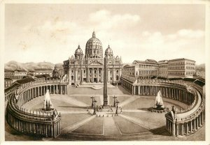 Italy Roma str peter's square the basilica Postcard