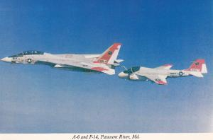 PATUXENT RIVER, Maryland, 1950-70s; A-6 and F-14 about to connect to refuel, U.S