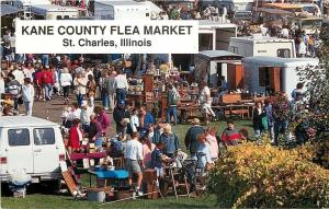 St Charles Illinois~Kane County Outdoor Flea Market~Trailers~1996 Postcard