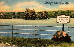 New York Canandaigua Lake Showing Historical Squaw Island 1955 Curteich
