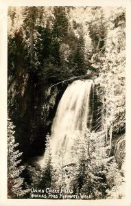 c1940 RPPC Postcard Union Creek Falls, Naches Pass Highway WA Ellis 314 Unposted