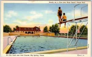 Big Spring, Texas Postcard West Texas' Finest Pool Diving Board Curteich Linen