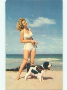 Pre-Linen Risque BIKINI GIRL WALKING HER DOG ON THE BEACH AB7148