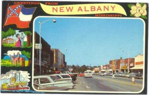 Street Scene Greetings from New Albany, Mississippi, MS, Chrome