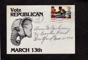 MA Republican Vincent McLaughlin Elephant Lowell Massachusetts Political Ad Card