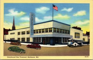 Baltimore Maryland MD 1940s Postcard Greyhound Bus Terminal Cars