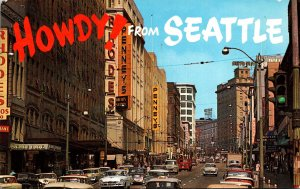 Washington Seattle Howdy Showing Busy Second Street 1961