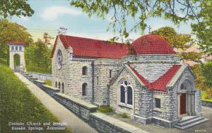 Arkansas Eureka Springs Catholic Church and Steeple Curteich