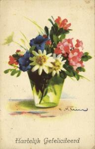 artist signed Catherine KLEIN, Vase with Flowers (1939)