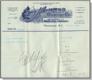 1919 Narragansett Grocery Co. Billhead, Providence, RI