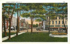 Bath New York~Liberty Street~View of Business Stores From Park Square~1920s PC
