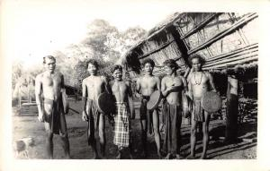 Balat Ies Mois New Caledonia Warriors Natives Real Photo Antique Postcard J61419