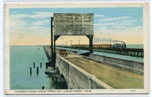 Railroad Road Causeway Corpus Christi Texas 1928 postcard