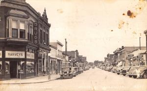 Missouri Valley IA~Erie Street~Harveys~Rialto Theatre~Good Food Folks~1941 RPPC