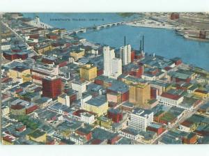 Bent Linen AERIAL VIEW OF TOWN Toledo Ohio OH n3851