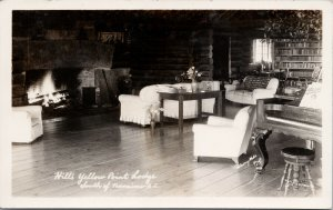 Yellow Point Lodge near Nanaimo BC Interior Fireplace Unused RPPC Postcard F80