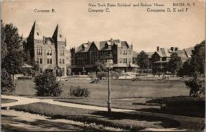 Bath New York~Civil War Soldiers & Sailors Home~Company B C D E F Buildings~1910