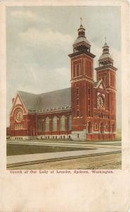Spokane Washington~Twin Bell Towers, Church of Our Lady of Lourdes~1910 Postcard