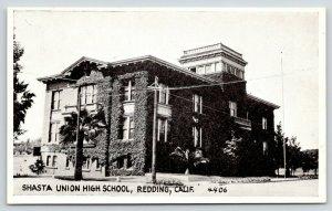 Redding California~Shasta Union High School~Ivy Covered Walls~1915 B&W PC