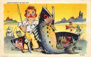 2A-H577 Ray Walters Comic Postcards Fishing Curt Teich Postcard
