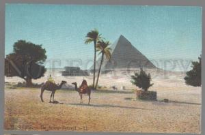 099088 EGYPT Second Pyramid CAMELS Vintage colorful PC