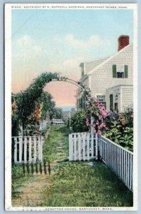 1928 NANTUCKET ISLAND MASS*STRATTON HOUSE*FLOWERS*GARDNER COPYRIGHT*PHOSTINT