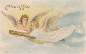 Christ is Risen, Jesus and angel flying, carrying cross, 00-10s