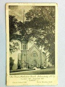 Vintage Postcard 1910's The First Methodist Church Schenectady NY New York
