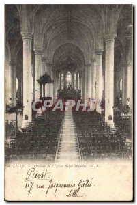 Postcard Old Lille Interior of the church Saint Maurice