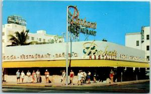 Miami Beach, Florida Postcard PARHAM'S RESTAURANT Collins Ave. Street View Linen
