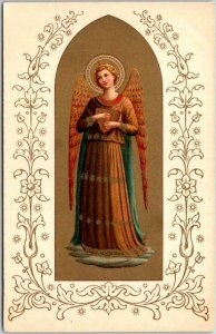 1910s ANGEL Religious Postcard Angel in Brown Dress w/ Instrument - Gold Unused