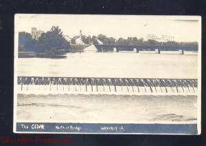 RPPC WAVERLY IOWA THE CEDAR RIVER BRIDGE DAM VINTAGE REAL PHOTO POSTCARD
