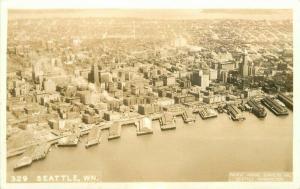 Aerial Survey's Seattle Washington 1940s RPPC Photo Postcard 4707