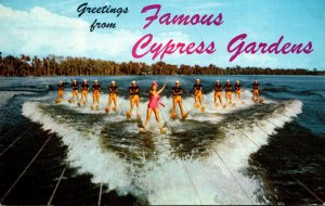 Florida Cypres Gardens Greetings Showing Water Skiers Led By Esther Williams ...