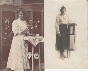 Women portraits near tall table early photo postcards x 2