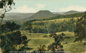 Postcard View from Range Showing Table Top Mountain Toowoomba Australia 1917 A39
