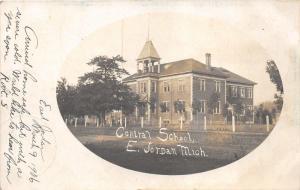 East Jordan Michigan~Central School~Bell Tower~Fence Along Road~1906 RPPC