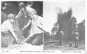 Seabees Demolition Practice CAMP PEARY, VA Navy WWII c1940s Vintage Postcard
