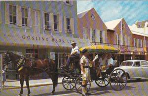Bermuda Hamilton Front Street With Policeman and Horse and Carriage