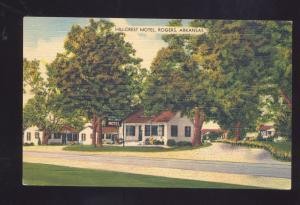 ROGERS ARKANSAS HILLCREST MOTEL ROADSIDE VINTAGE LINEN ADVERTISING POSTCARD
