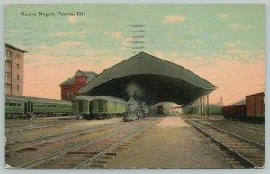 Peoria Illinois~Union Railroad Depot~Train Shed~Steam Locomotive~1912 Postcard