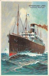 LP44   American Line  Ship Vintage Postcard Hamburg New York