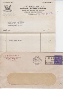J R WELDIN CO - Booksellers - 1938 INVOICE & ENVELOPE COVER / PITTSBURGH