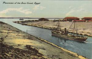 EGYPT, 1900-1910's; Panorama Of The Suez Canal, Ship
