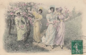 AS; M.M. VIENNE; Four young ladies picking flowers, 1900-10s