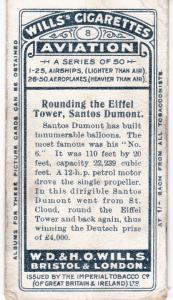 Cigarette Cards Wills AVIATION No 8 Rounding the Eiffel Tower, Santos Dumont